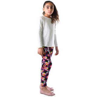 Dinamit Girls' Multicolor Nylon/Spandex Geometric Printed Legging