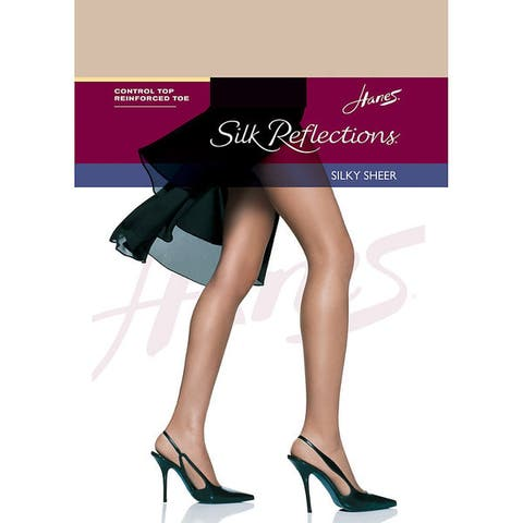 Silk Reflections Womens Control Top Reinforced Toe Pantyhose Travel Buff