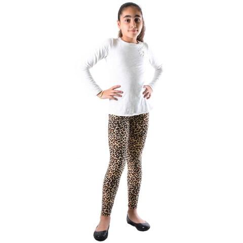 Dinamit Girls' Multicolor Nylon/Spandex Leopard-printed Legging