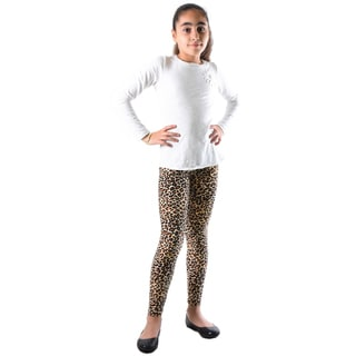 Dinamit Girls' Multicolor Nylon/Spandex Leopard-printed Legging