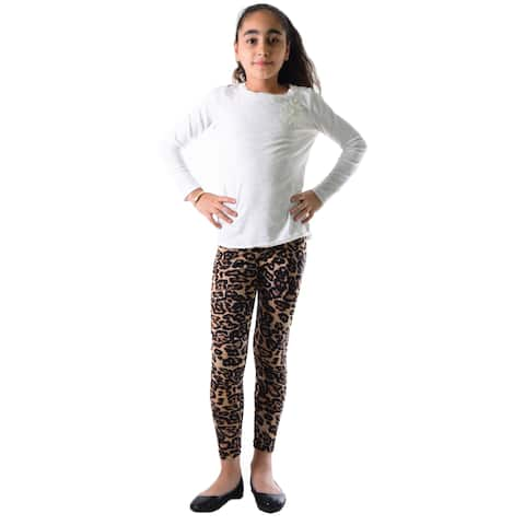 Dinamit Girls' Multicolor Nylon/Spandex Leopard-print Legging