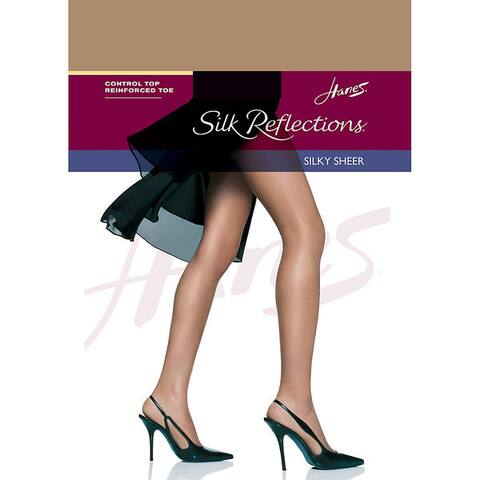 Silk Reflections Womens Barely There Control Top Reinforced Toe Pantyhose