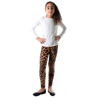 Dinamit Girls' Multicolored Nylon/Spandex Leopard-print Leggings