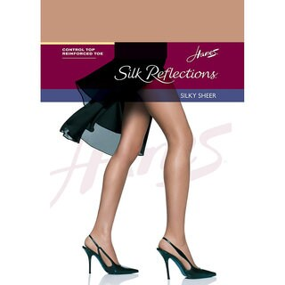 Silk Reflections Women's Cafe Au Lait Control Top Reinforced Toe Pantyhose