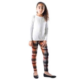 Dinamit Girls' Multicolored Nylon/Spandex Black Plaid Printed Legging