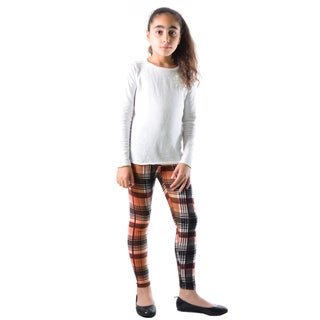 Dinamit Girls' Multicolored Nylon/Spandex Black Plaid Printed Legging (5 options available)