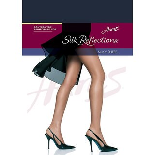 Silk Reflections Women's Classic Navy Control Top Reinforced Toe Pantyhose