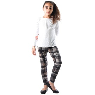 Dinamit Girl's Multicolor Nylon Spandex Plaid Printed Legging