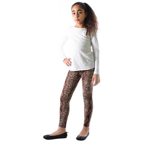 Dinamit Girls' Multicolored Nylon/Spandex Snakeskin-print Leggings