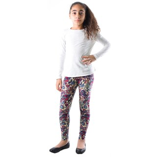 Dinamit Girl's Multicolor Nylon/Spandex Paisley Printed Leggings