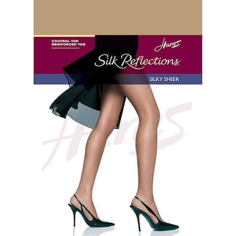 Silk Reflections Women's Control Top Reinforced Toe Pantyhose Little Color