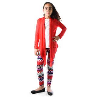 Dinamit Girls' Multicolor Nylon/Spandex Chevron Printed Legging