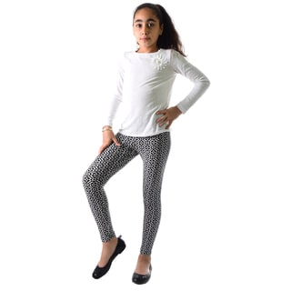 Girls' Black and White Nylon and Spandex Leggings