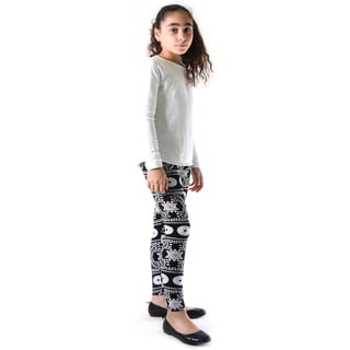 Dinamit Girl's Black/White Nylon/Spandex Printed Leggings