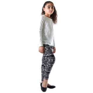 Dinamit Girl's Multicolor Nylon/Spandex Abstract Printed Leggings