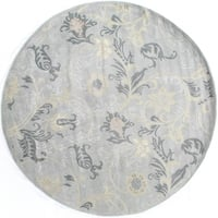 Exquisite Rugs Milano Light Blue New Zealand Wool and Silk Round Rug (6' Round) - 8' x 8'