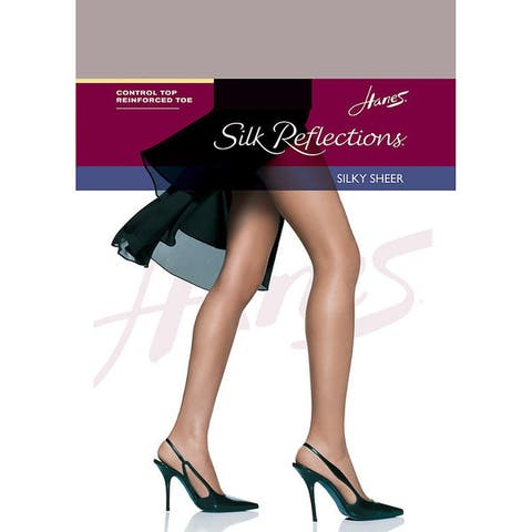 Silk Reflections Womens Control Top Reinforced Toe Pantyhose Soft Taupe
