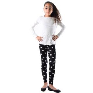 Girls' Black/White Nylon/Spandex Star-print Leggings