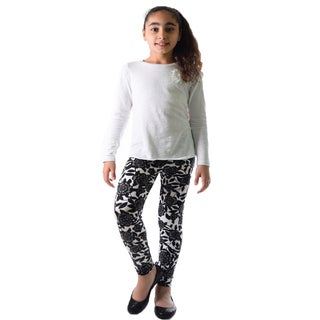 Dinamit Girl's Black, White Nylon, Spandex Floral Printed Leggings