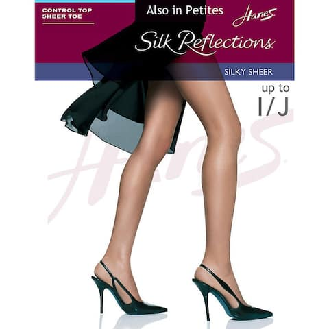 Silk Reflections Womens Barely Black Control Top Sheer Toe Pantyhose