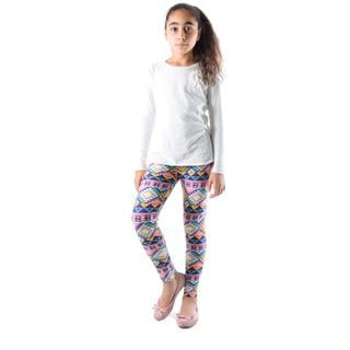 Dinamit Girl's Multicolor Nylon/Spandex Printed Leggings