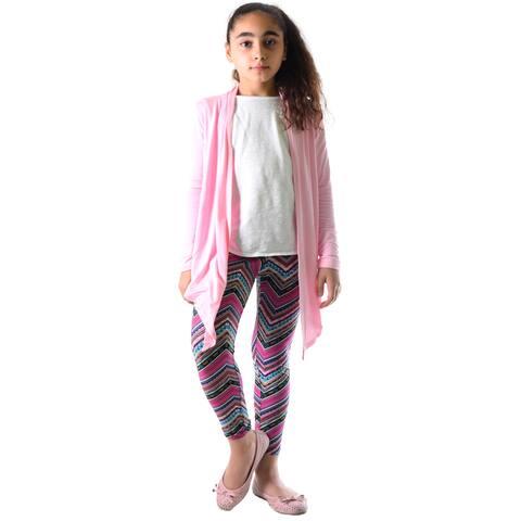 Girls' Multi-color Chevron Pattern Nylon and Spandex Legging