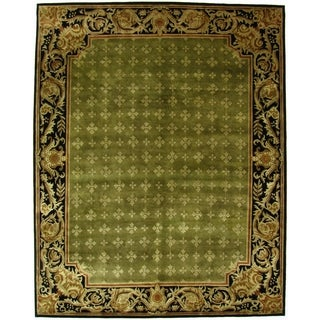 Exquisite Rugs Super Tibetan-Weave Green and Black Hand-spun New Zealand Wool and Silk Rug - 10' x 14'