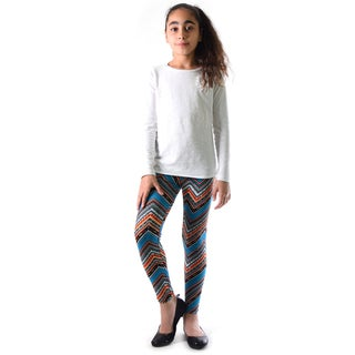 Dinamit Girl's Multicolor Nylon/Spandex Chevron Pattern Printed Leggings