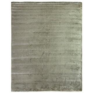Exquisite Rugs Board Blue / Aqua Viscose Rug (10' x 14') - 10' x 14'