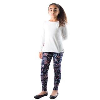 Dinamit Girls Multicolor Nylon/Spandex Floral Printed Leggings