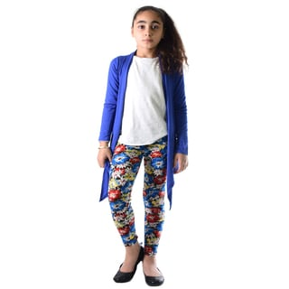 Dinamit Girl's Multicolor Nylon, Spandex Floral Printed Leggings