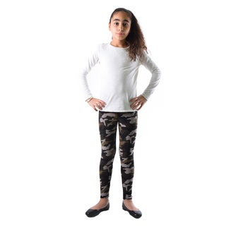 Dinamit Girls' Multicolor Nylon/Spandex Camouflage Leggings