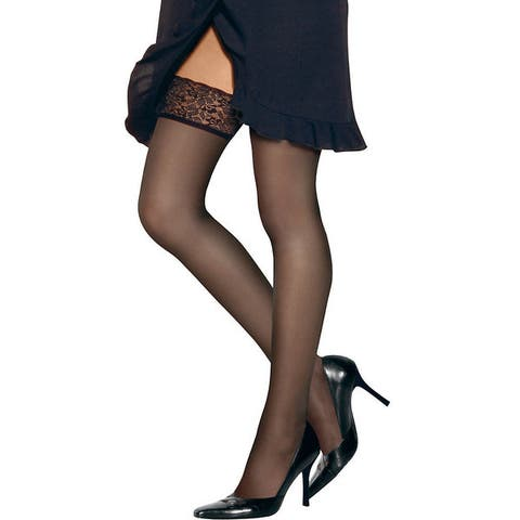 Silk Reflections Womens Lace Top Thigh Highs Barely Black Pantyhose