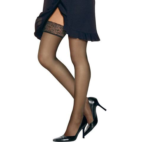 Silk Reflections Womens Lace Top Thigh Highs Barely There Pantyhose
