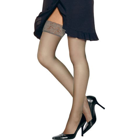 Hanes Womens Silk Reflections Travel Buff Lace-top Thigh Highs