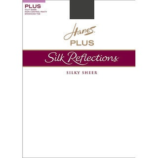 Silk Reflections Women's Enhanced Toe Sheer Pantyhose Barely Black