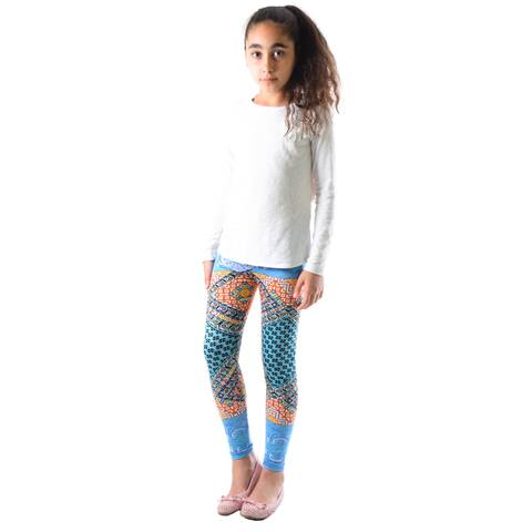 Dinamit Girl's Multicolor Nylon, Spandex Printed Leggings