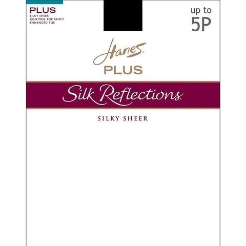 Silk Reflections Women's Sheer Control Top Enhanced Toe Pantyhose Barely Black