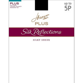 Silk Reflections Women's Sheer Control Top Enhanced Toe Pantyhose Barely Black