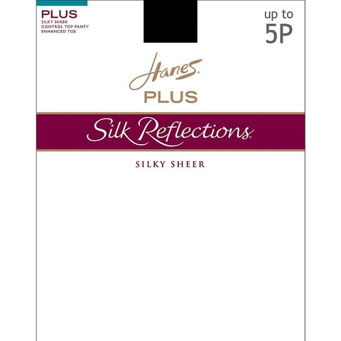 Silk Reflections Women's Sheer Control Top Enhanced Toe Pantyhose Barely There