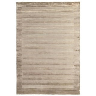 Exquisite Rugs Wide Stripe Beige Viscose Rug (10' x 14')