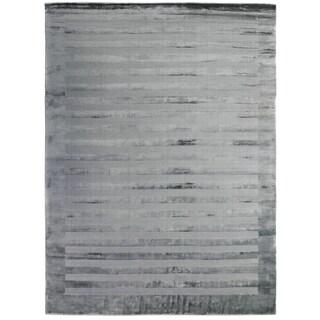 Exquisite Rugs Wide Stripe Grey/Blue Viscose Rug (10' x 14')