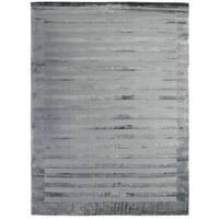 Exquisite Rugs Wide Stripe Grey/Blue Viscose Rug - 10' x 14'