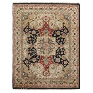 Exquisite Rugs European Polonaise Black/Ivory New Zealand Wool Rug (9' x 10')