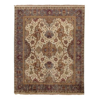 Exquisite Rugs European Polonaise Ivory New Zealand Wool Rug (9' x 11'6)