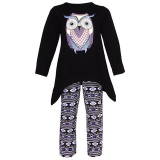 AnnLoren Girls' Aztec Owl Knit Cotton High-low Tunic and Pants Outfit