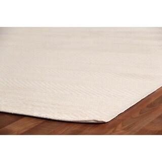 Exquisite Rugs Herringbone White Viscose Rug (9' x 12')