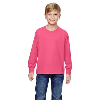 Boy's Neon Pink 5 Ounce Heavy Cotton Heather Long-sleeve T-shirt