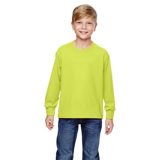 Boys' Safety Green Heavy Cotton Long-sleeve T-shirt