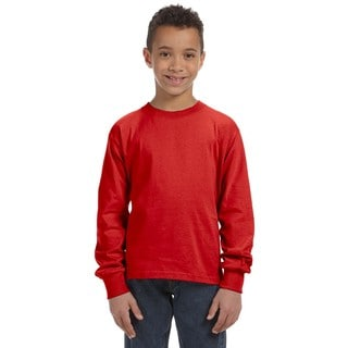 Fruit of the Loom Boy's True Red 100-percent Heavy Cotton Long-sleeve T-shirt